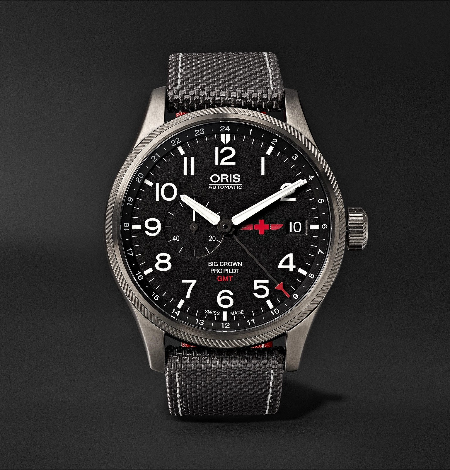 Photo: Oris - GMT Rega Limited Edition Automatic 45mm Stainless Steel and Canvas Watch, Ref. No. 01 748 7710 4284 - Black