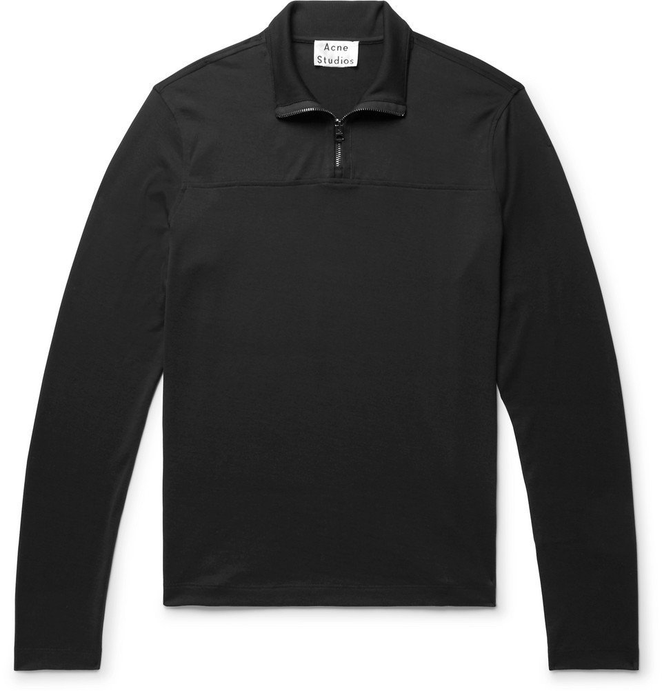 Photo: Acne Studios - Evias Cotton-Jersey Half-Zip Shirt - Black