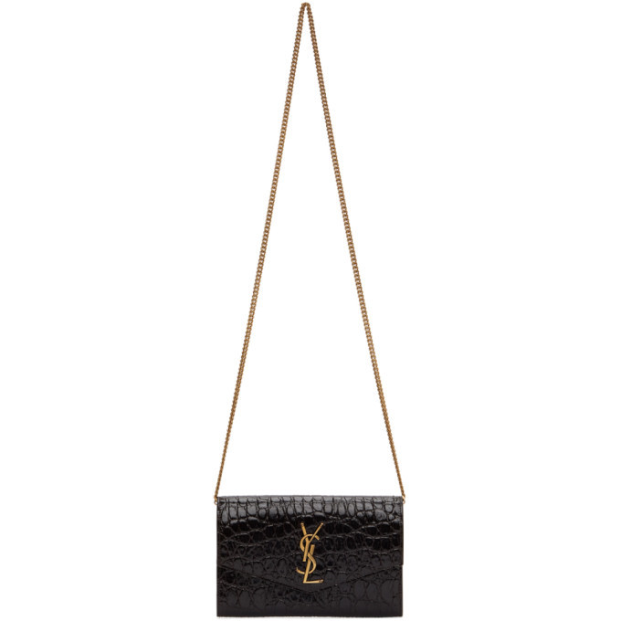 Photo: Saint Laurent Brown Croc Uptown Chain Wallet Bag