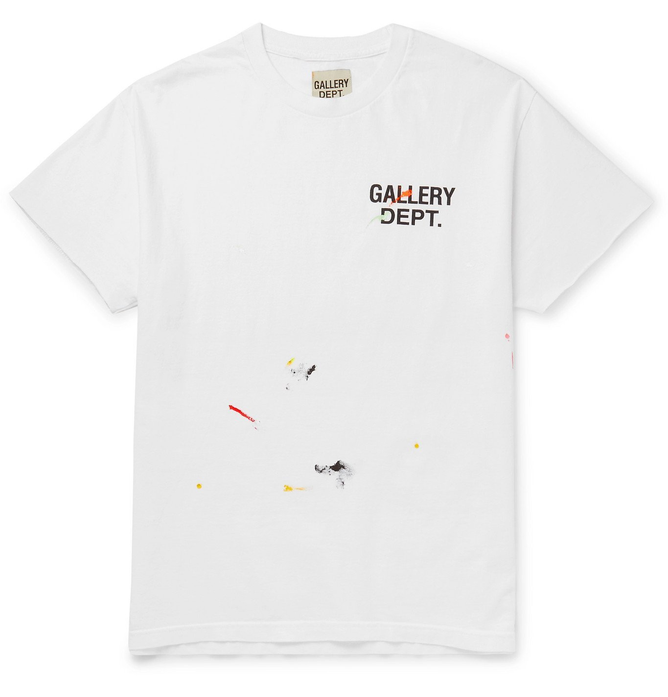 Photo: Gallery Dept. - Paint-Splattered Logo-Print Cotton-Jersey T-Shirt - White