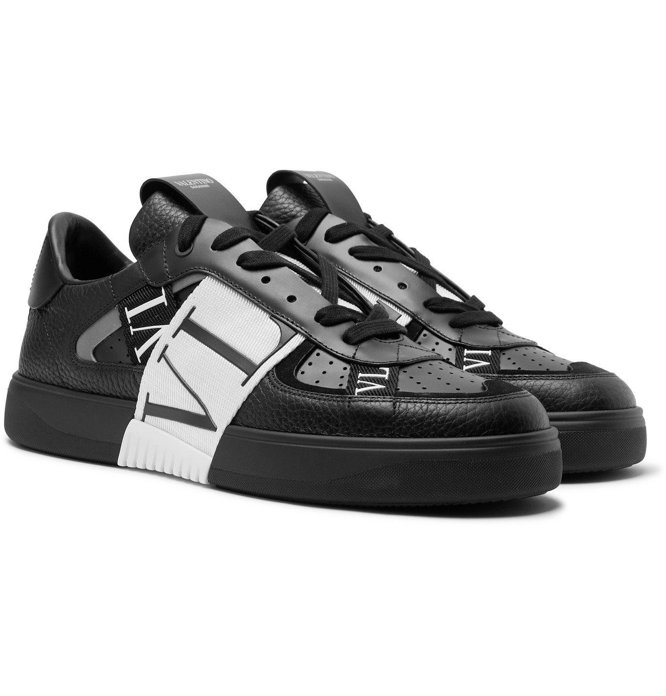 Photo: Valentino - Valentino Garavani VL7N Webbing-Trimmed Faux Leather Sneakers - Black