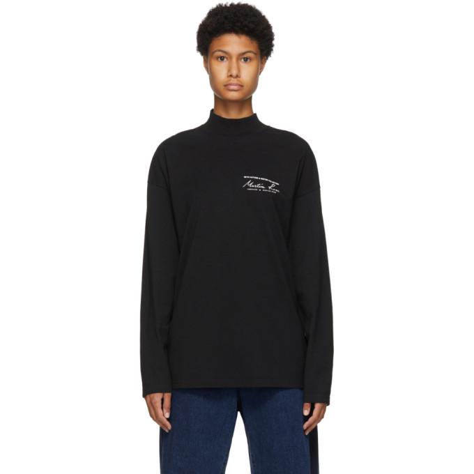 Martine Rose Black Funnel Neck Long Sleeve T-Shirt