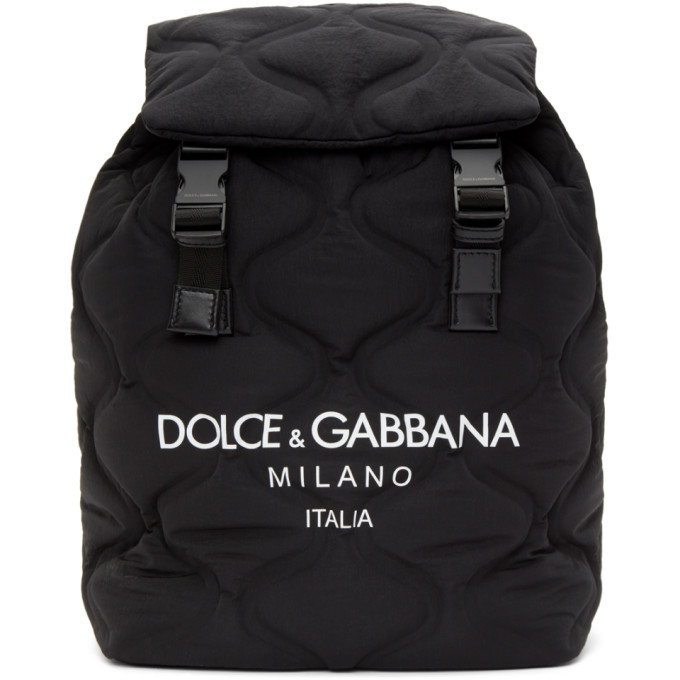 Photo: Dolce and Gabbana Black and White Quilted Logo Backpack