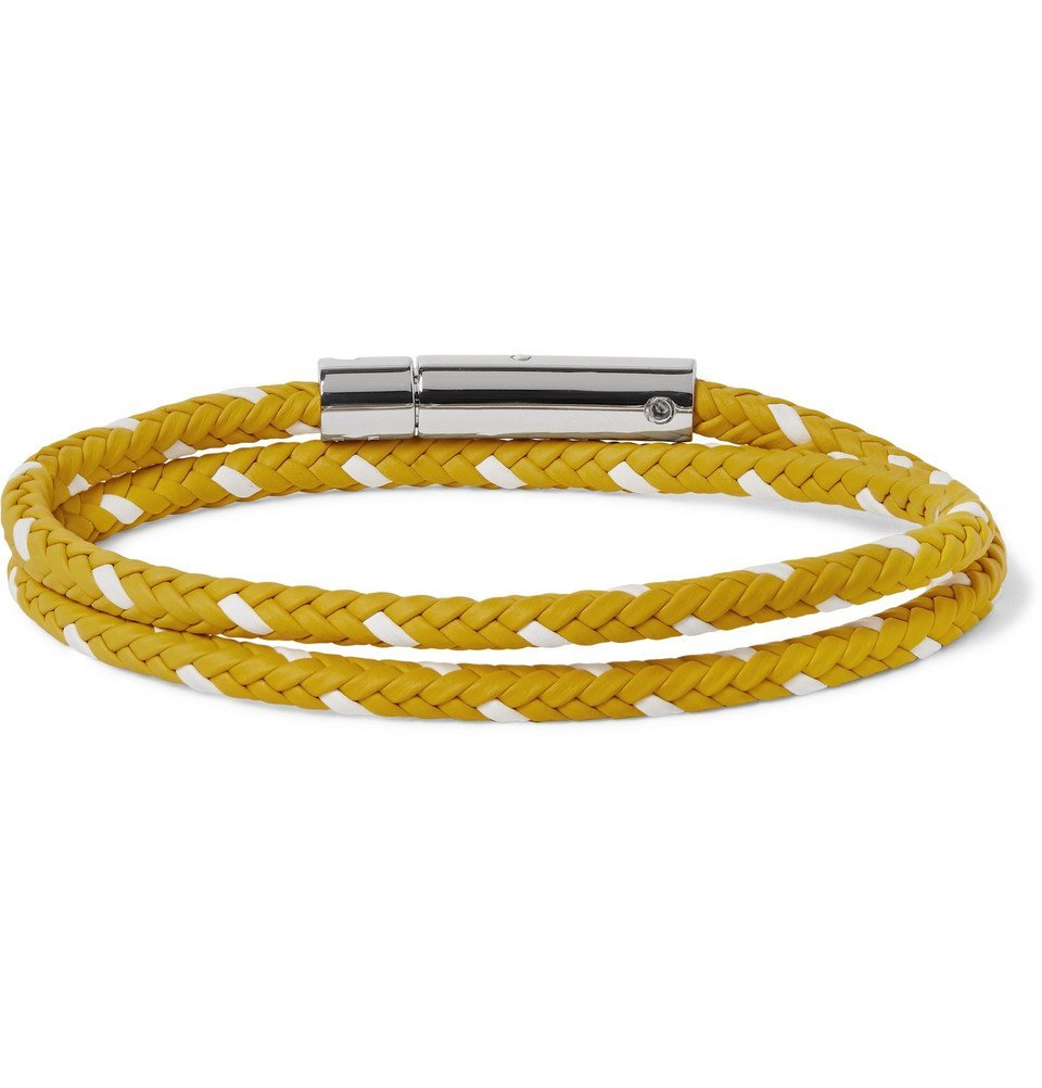 Tod's - Woven Leather and Silver-Tone Wrap Bracelet - Men - Yellow