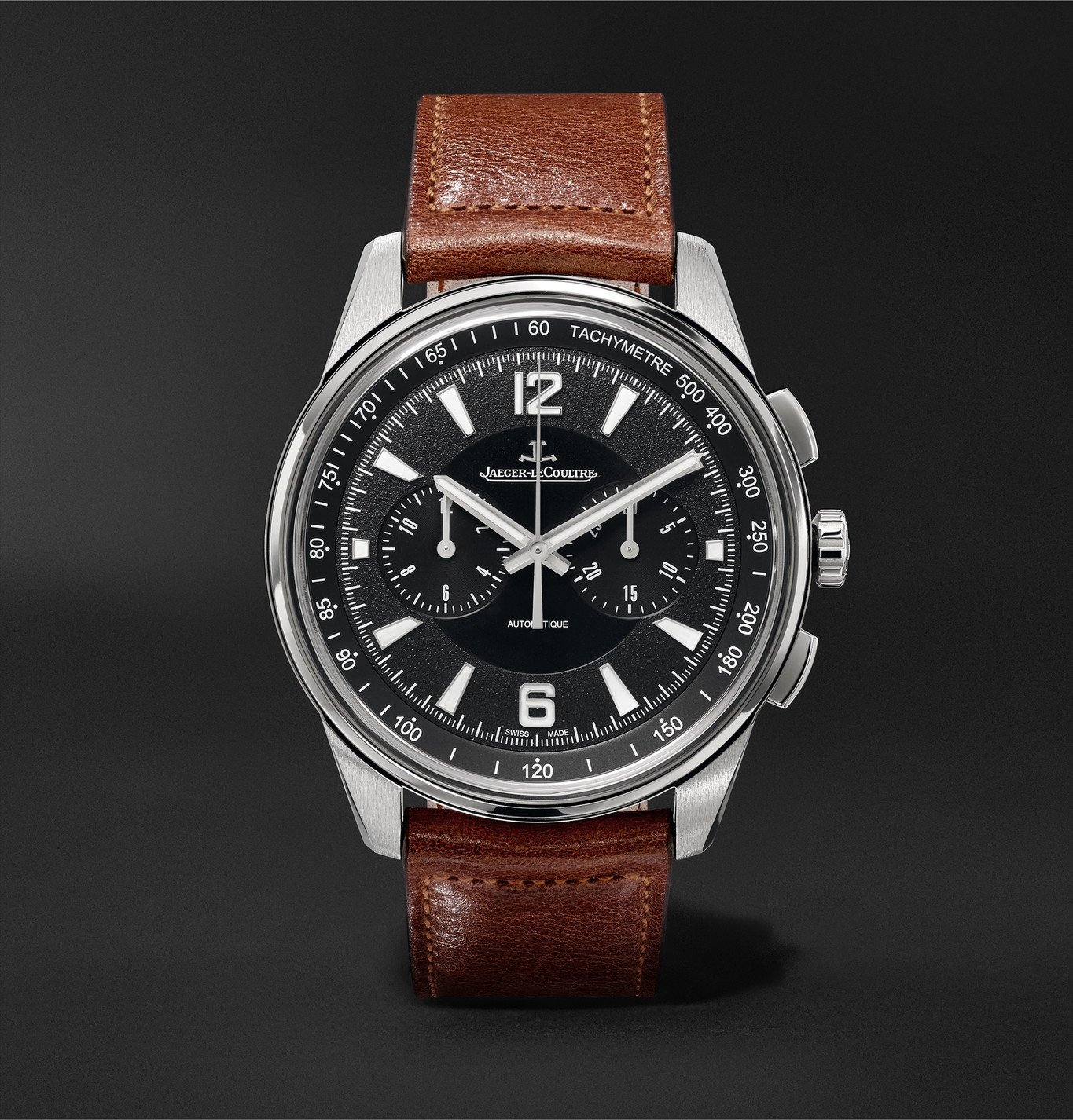 Photo: Jaeger-LeCoultre - Polaris Automatic Chronograph 42mm Stainless Steel and Leather Watch, Ref. No. Q9028471 - Black