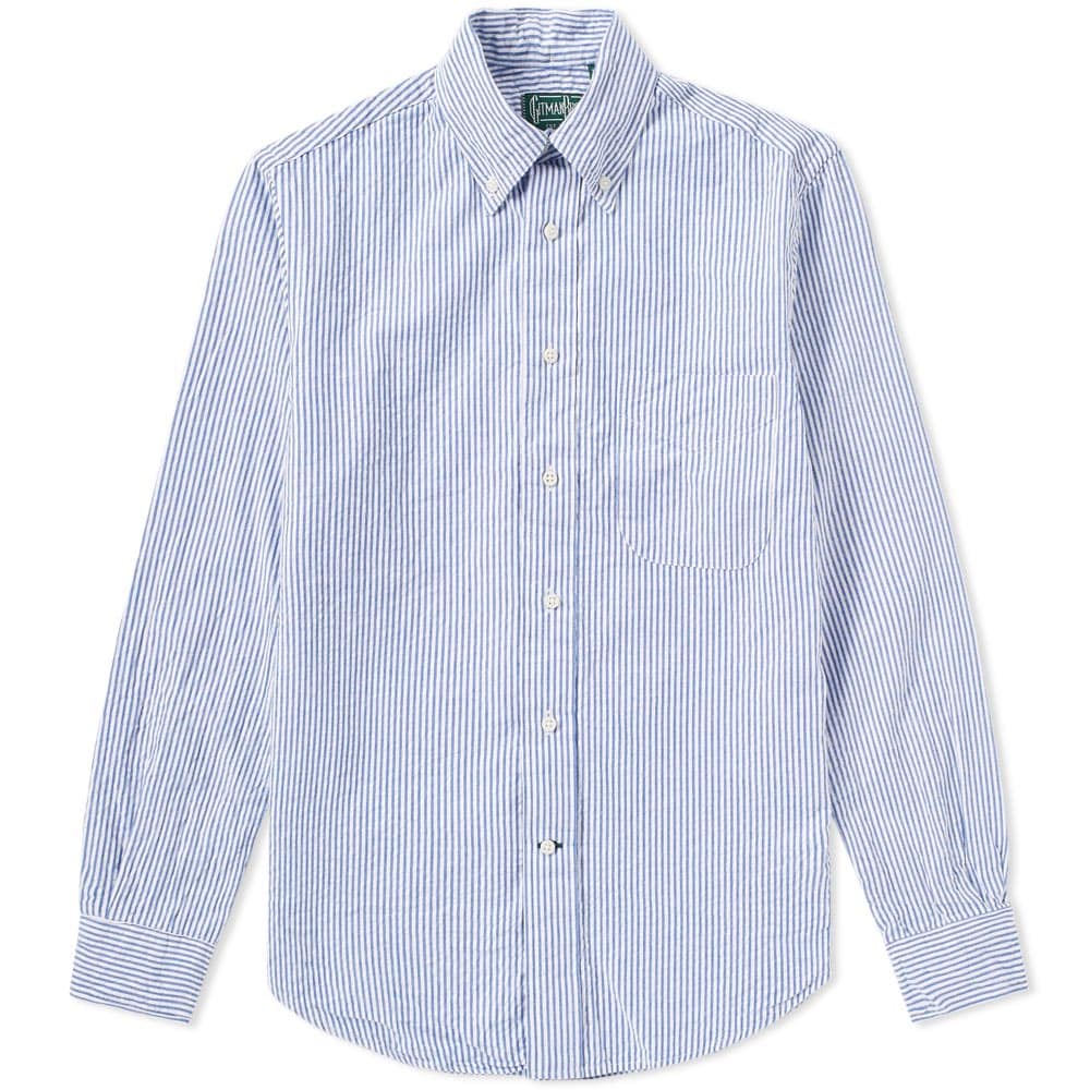 Photo: Gitman Vintage Stripe Seersucker Shirt Blue