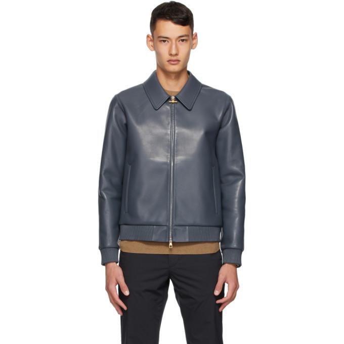 Dunhill Grey Leather BondedJacket