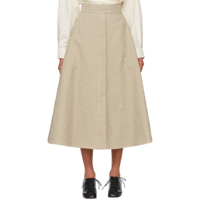 Photo: Lemaire Beige Linen Trench Skirt