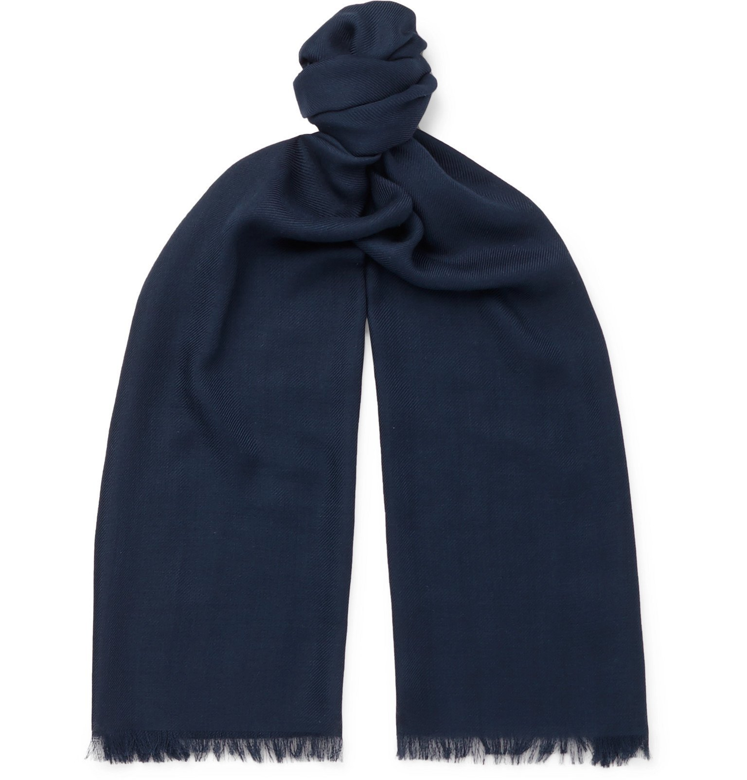 Photo: Loro Piana - Fringed Cashmere and Silk-Blend Scarf - Blue