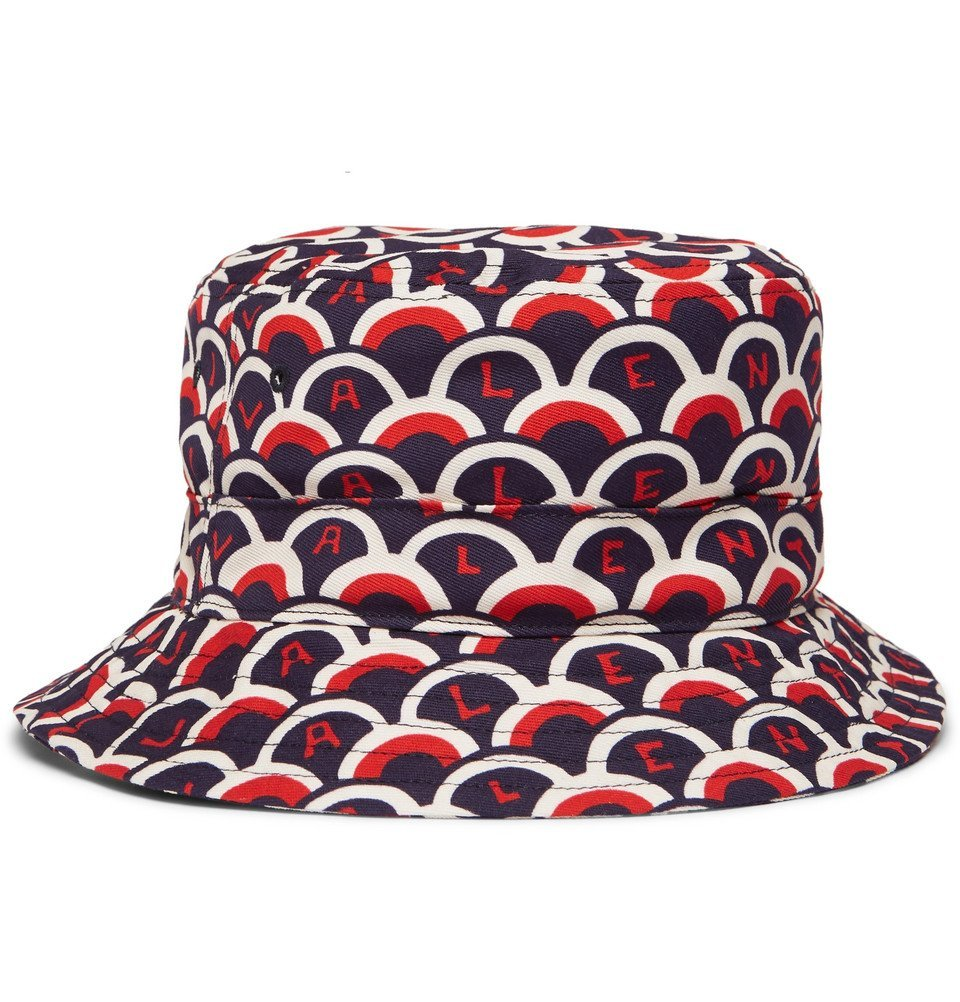 Photo: Valentino - Valentino Garavani Printed Cotton-Twill Bucket Hat - Navy
