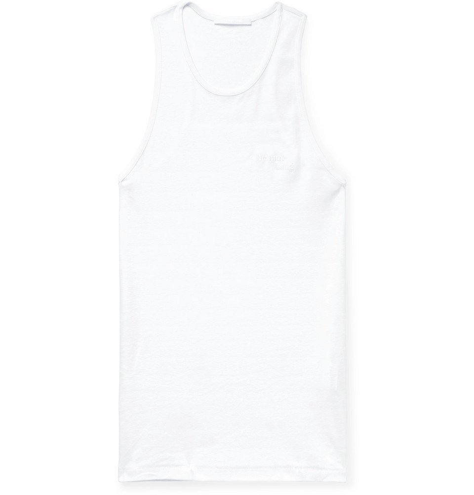 8e100efb3ffbf Photo  Helmut Lang - Logo-Embroidered Cotton-Jersey Tank Top - Men -