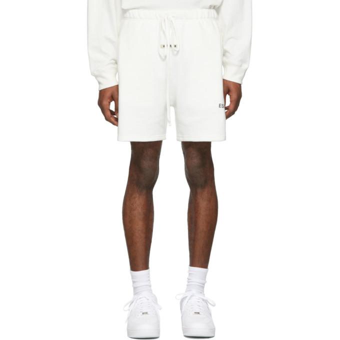 Photo: Essentials White Reflectiv Fleece Shorts