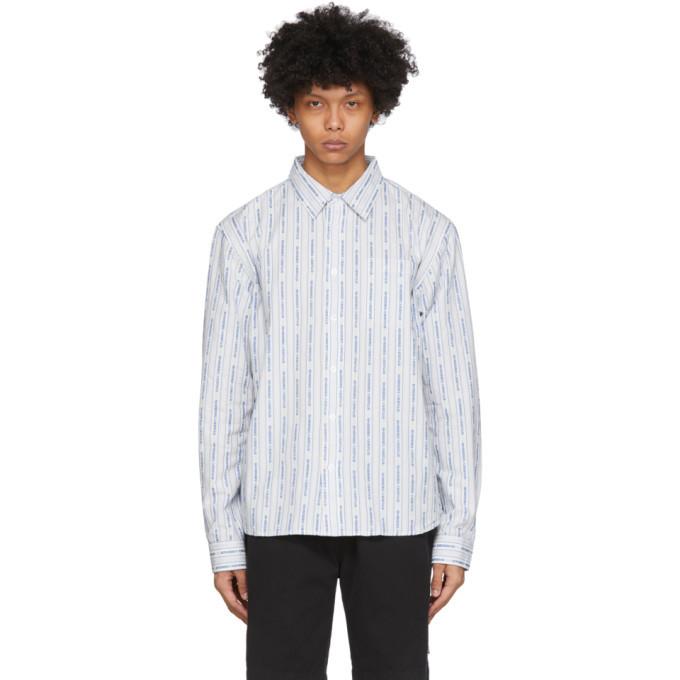 Photo: Stussy White and Blue Jacquard Logo Stripe Shirt
