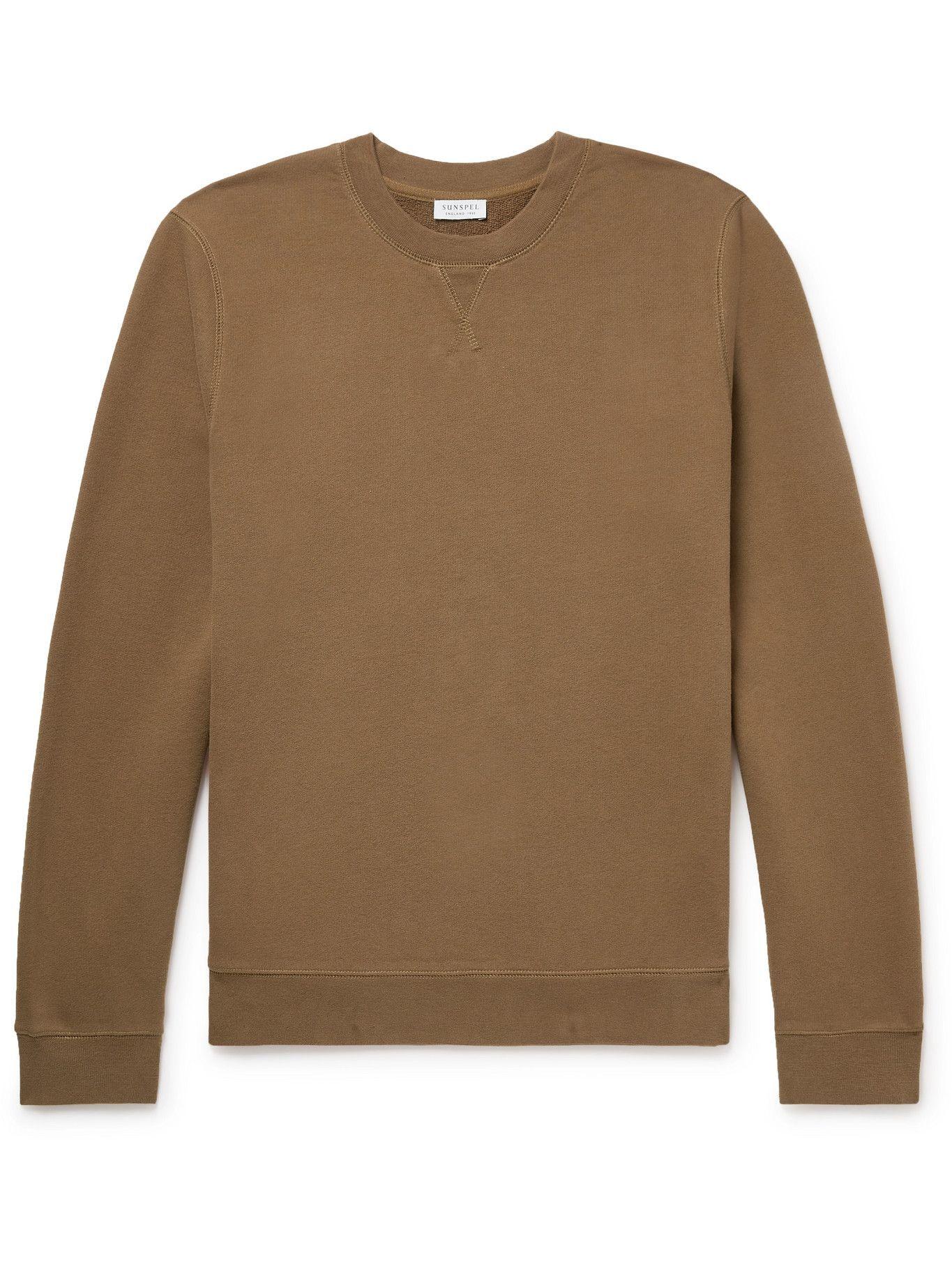 Photo: Sunspel - Brushed Loopback Cotton-Jersey Sweatshirt - Brown