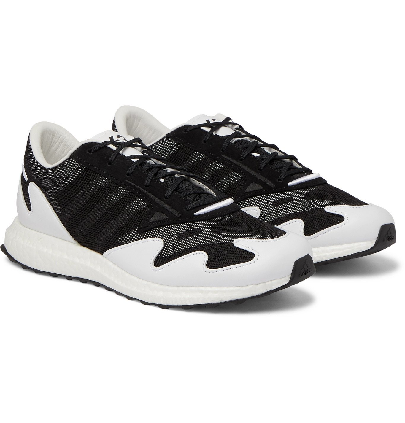 Photo: Y-3 - Rhisu Run Leather and Suede-Trimmed Mesh Sneakers - Black