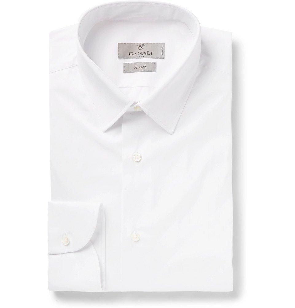 a0cc16c0284 algodón de elástico Fit Slim Hombre popelina de Blanco Camisa Canali  wnOYaq7H