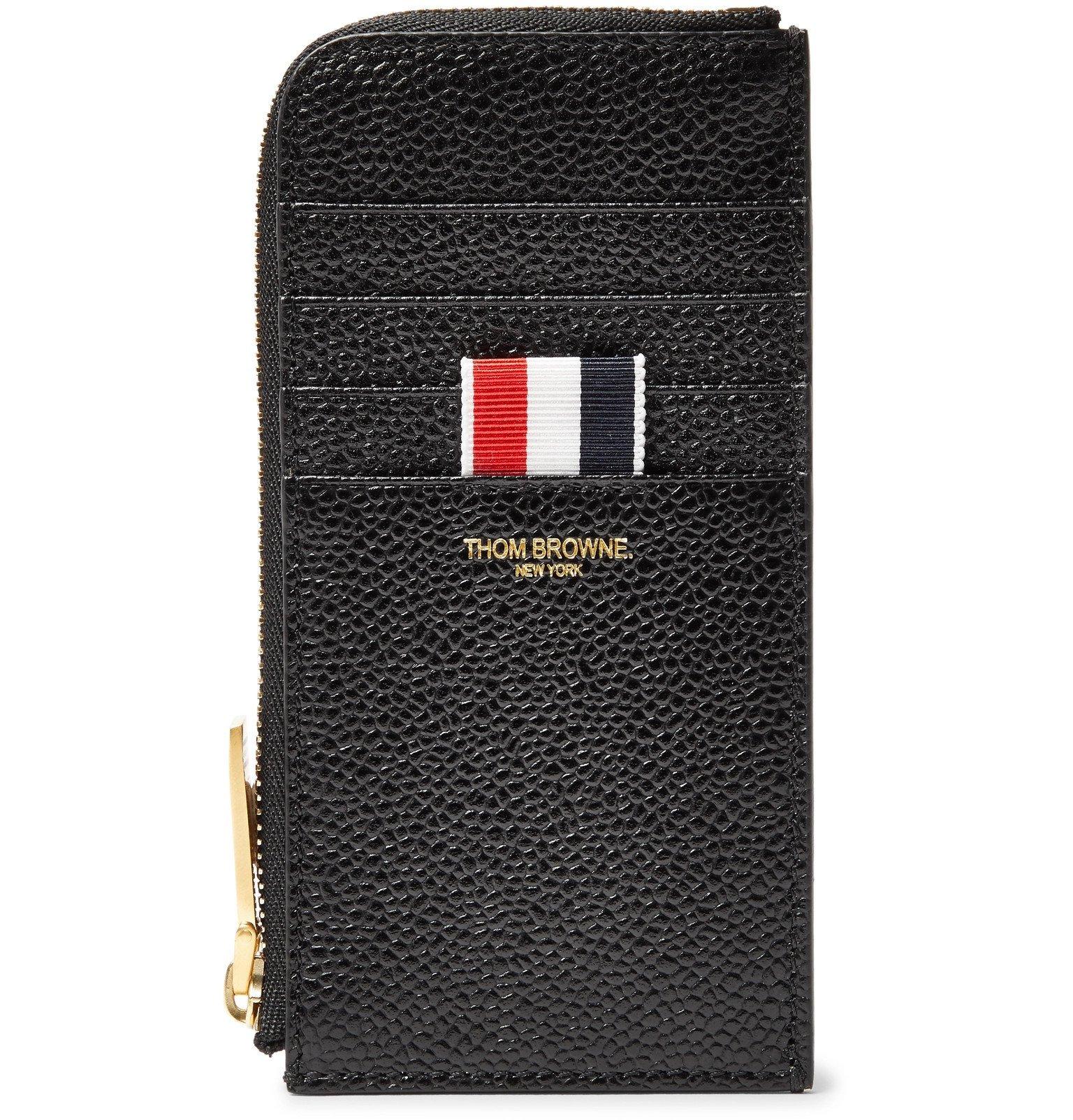 Photo: Thom Browne - Pebble-Grain Leather Zip-Around Cardholder - Black