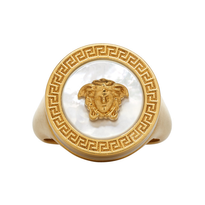 Photo: Versace Gold Medusa Pearl Ring