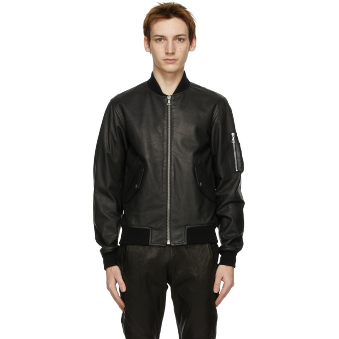 Photo: John Elliott Black Leather Bogota Bomber Jacket