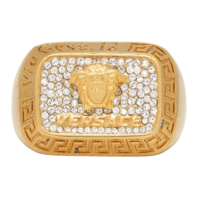 Photo: Versace Gold Crystal Square Medusa Ring