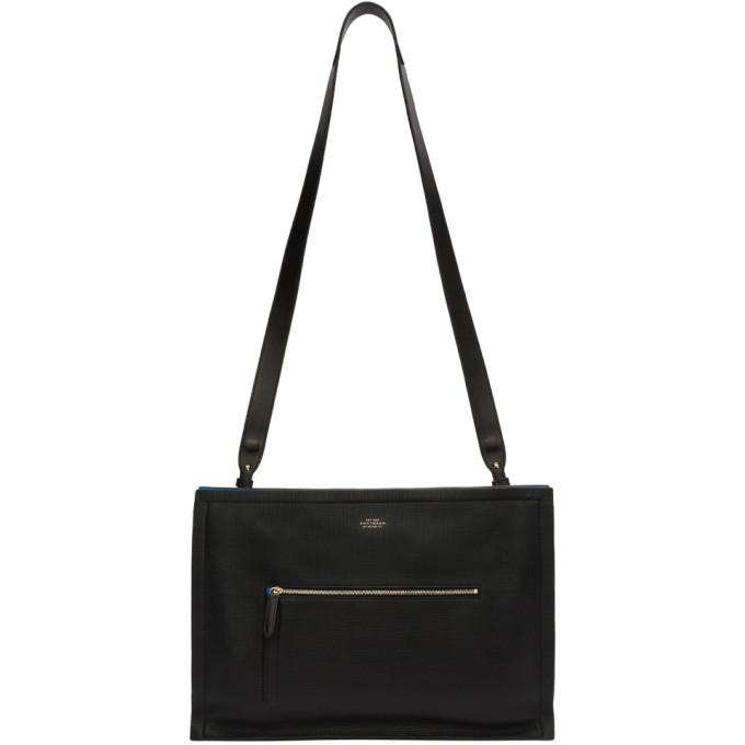 Smythson Black Maxi Panama Zip Briefcase