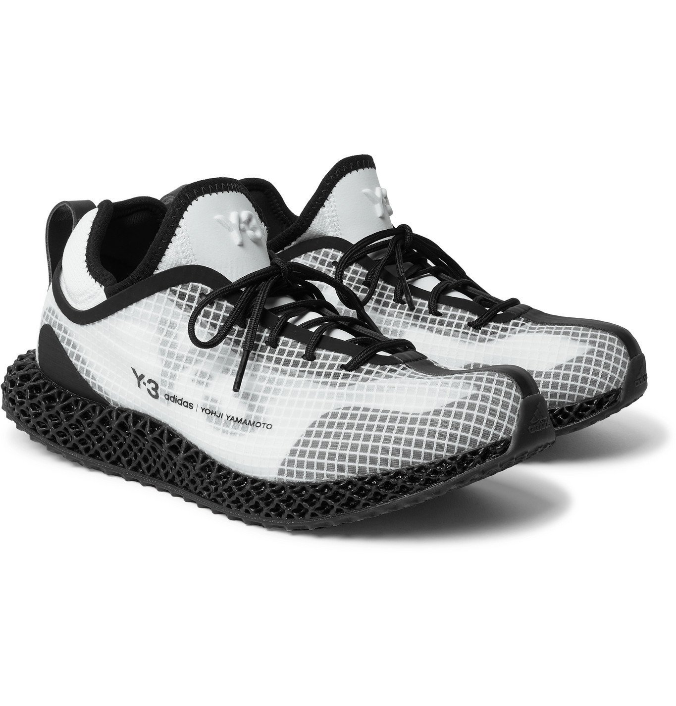 Photo: Y-3 - Runner 4D IO Leather and Neoprene-Trimmed Ripstop and Primeknit Sneakers - White