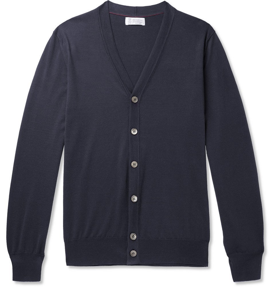 Photo: Brunello Cucinelli - Contrast-Tipped Cotton Cardigan - Navy