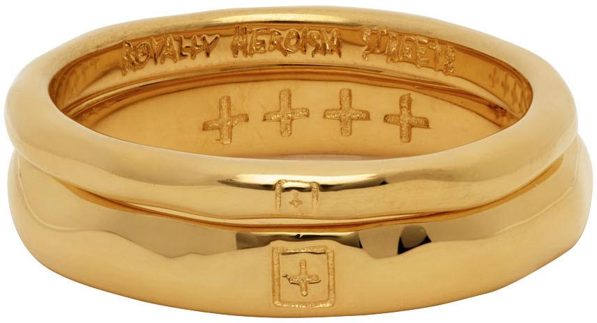 Photo: Ksubi Gold Dripps Box Cross Ring Set
