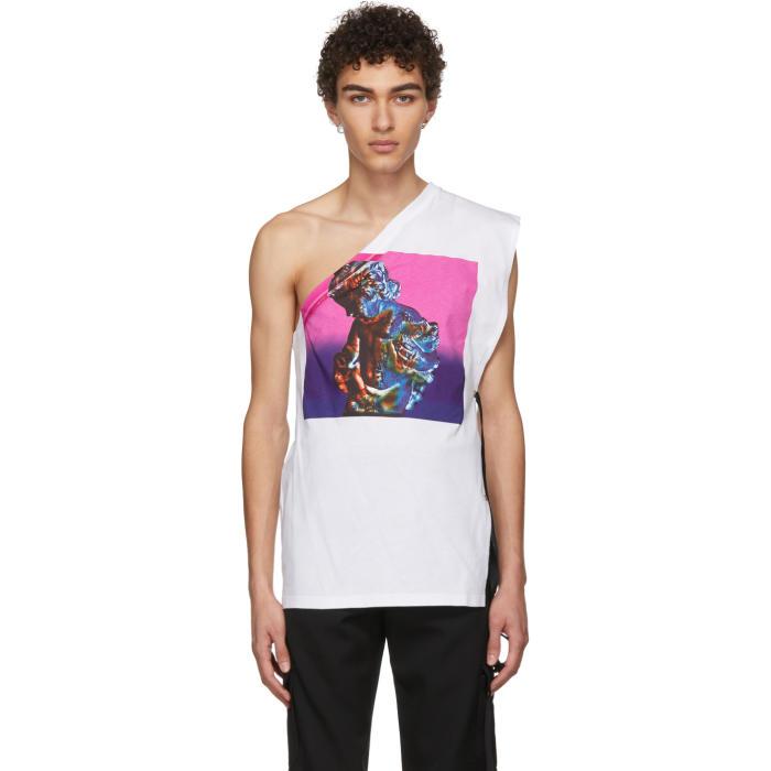 Photo: Raf Simons White and Pink Asymmetric T-Shirt