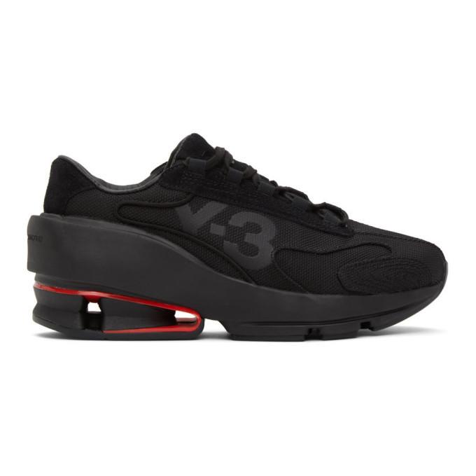 Photo: Y-3 Black Sukui II Panelled Mesh Sneakers