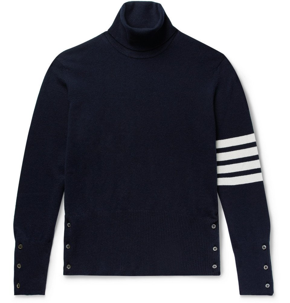 Photo: Thom Browne - Slim-Fit Striped Cashmere Rollneck Sweater - Midnight blue