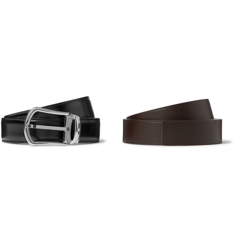 Photo: Montblanc - Set of Two 3cm Black and Dark-Brown Leather Belts - Black