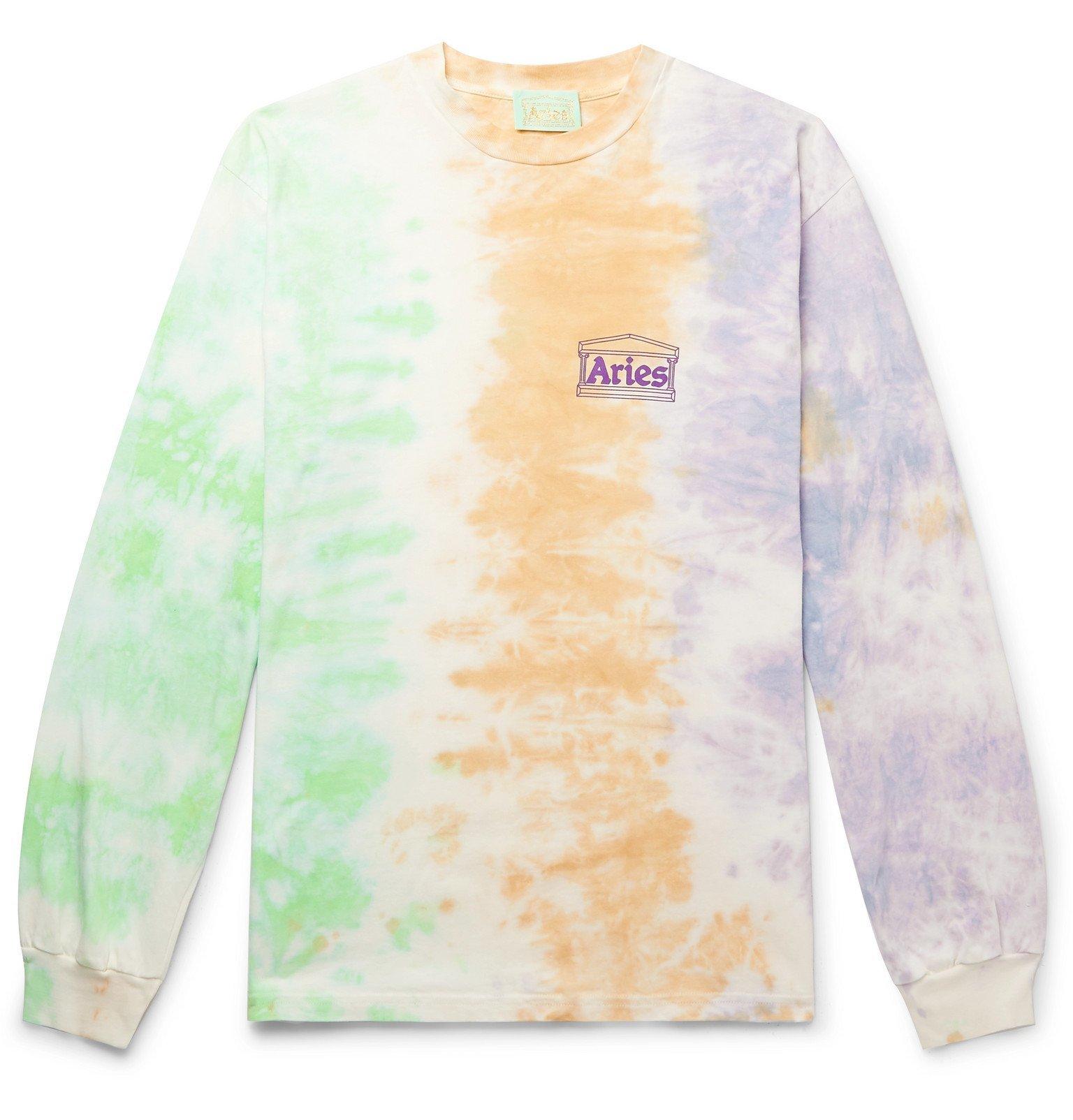 Photo: Aries - Logo-Print Tie-Dyed Cotton-Jersey T-Shirt - Green