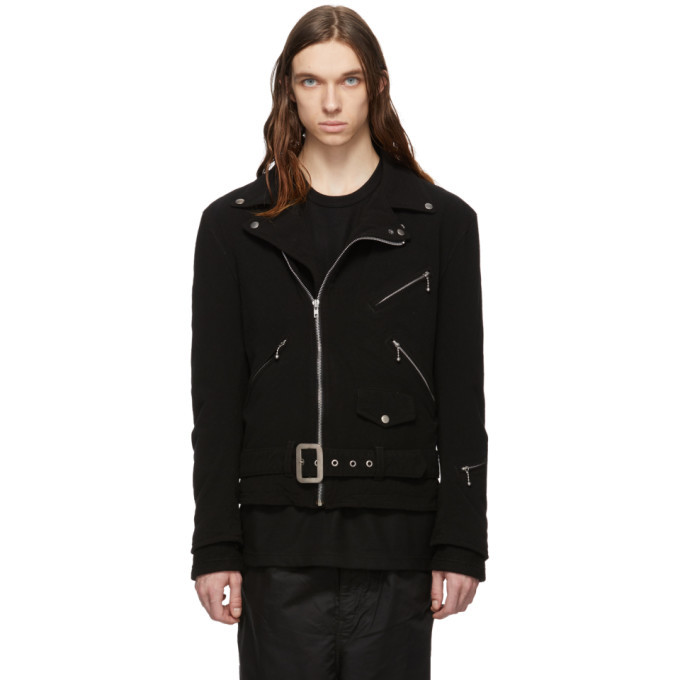 Photo: Comme des Garcons Homme Black Wool Biker Jacket
