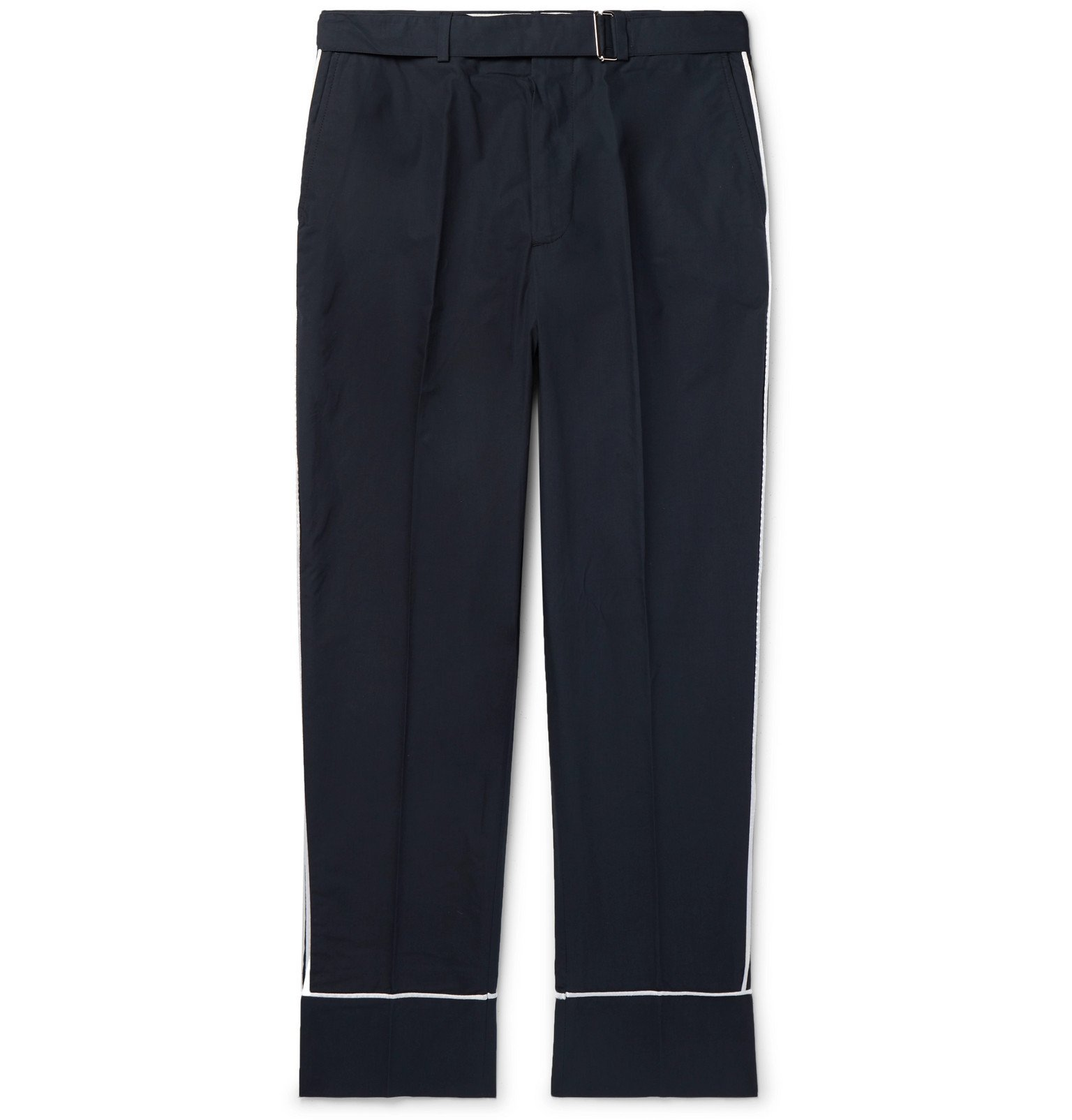 Photo: Officine Generale - Lucio Wide-Leg Belted Cotton Trousers - Blue