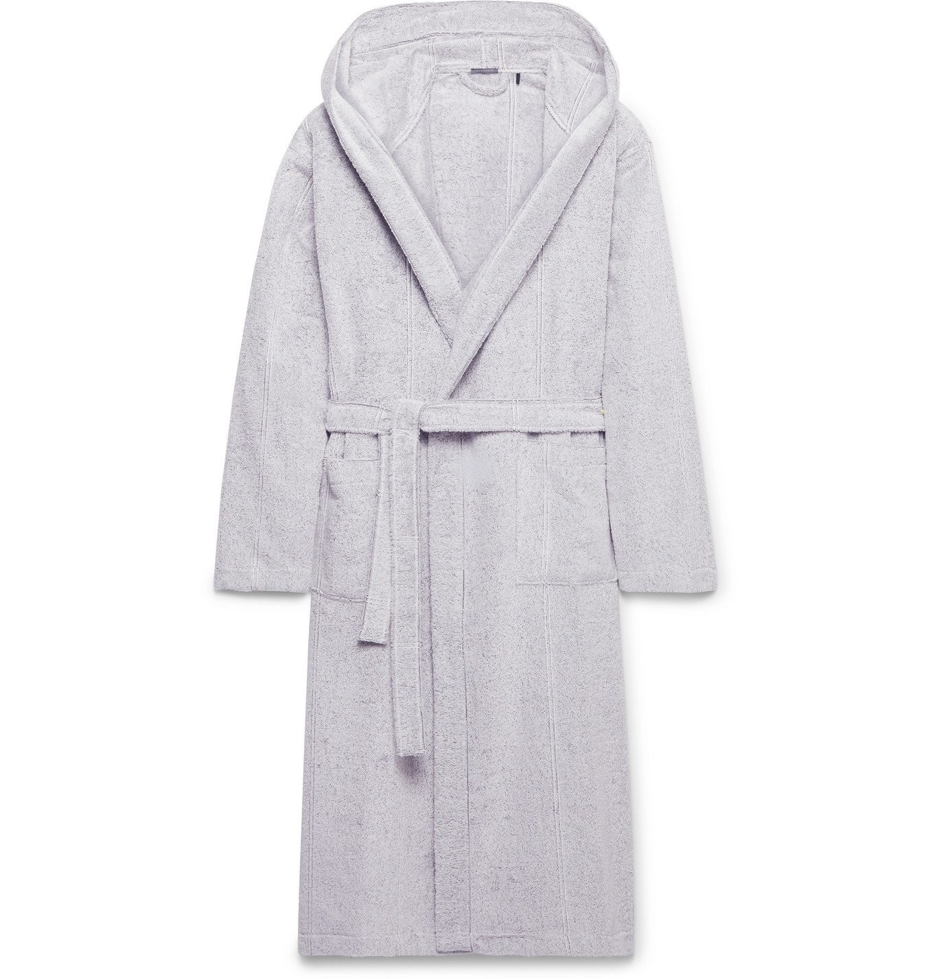 Schiesser - Striped Cotton-Terry Hooded Robe - Gray