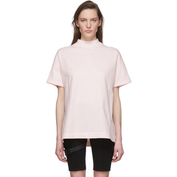 Photo: 1017 ALYX 9SM Pink Logo Mock Neck T-Shirt