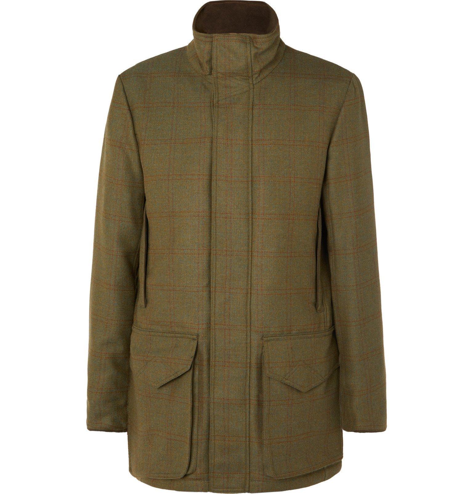 Photo: James Purdey & Sons - Checked Herringbone Wool-Blend Tweed Coat - Green