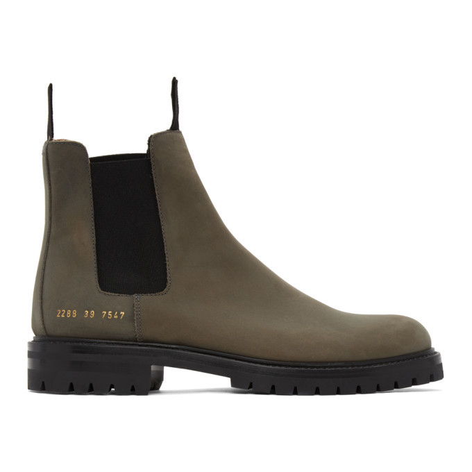 Photo: Common Projects Khaki Winter Chelsea Boots