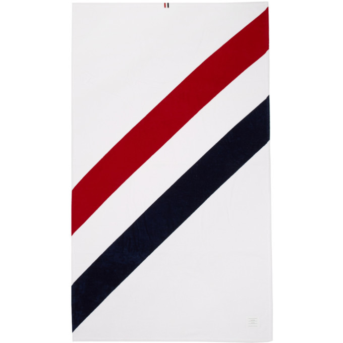 Photo: Thom Browne White Diagonal Stripe Beach Towel