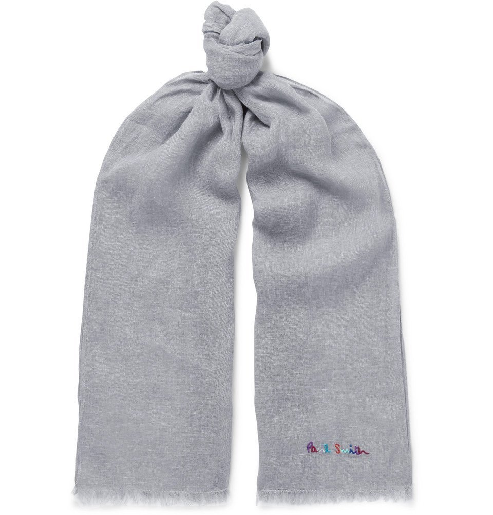 Photo: Paul Smith - Logo-Embroidered Slub Linen Scarf - Gray
