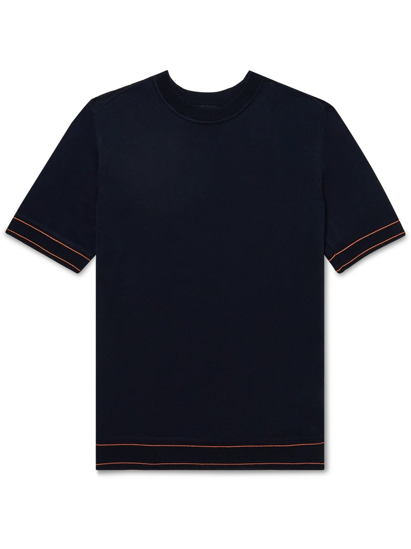 HUGO BOSS - Contrast-Tipped Knitted Cotton T-Shirt - Blue