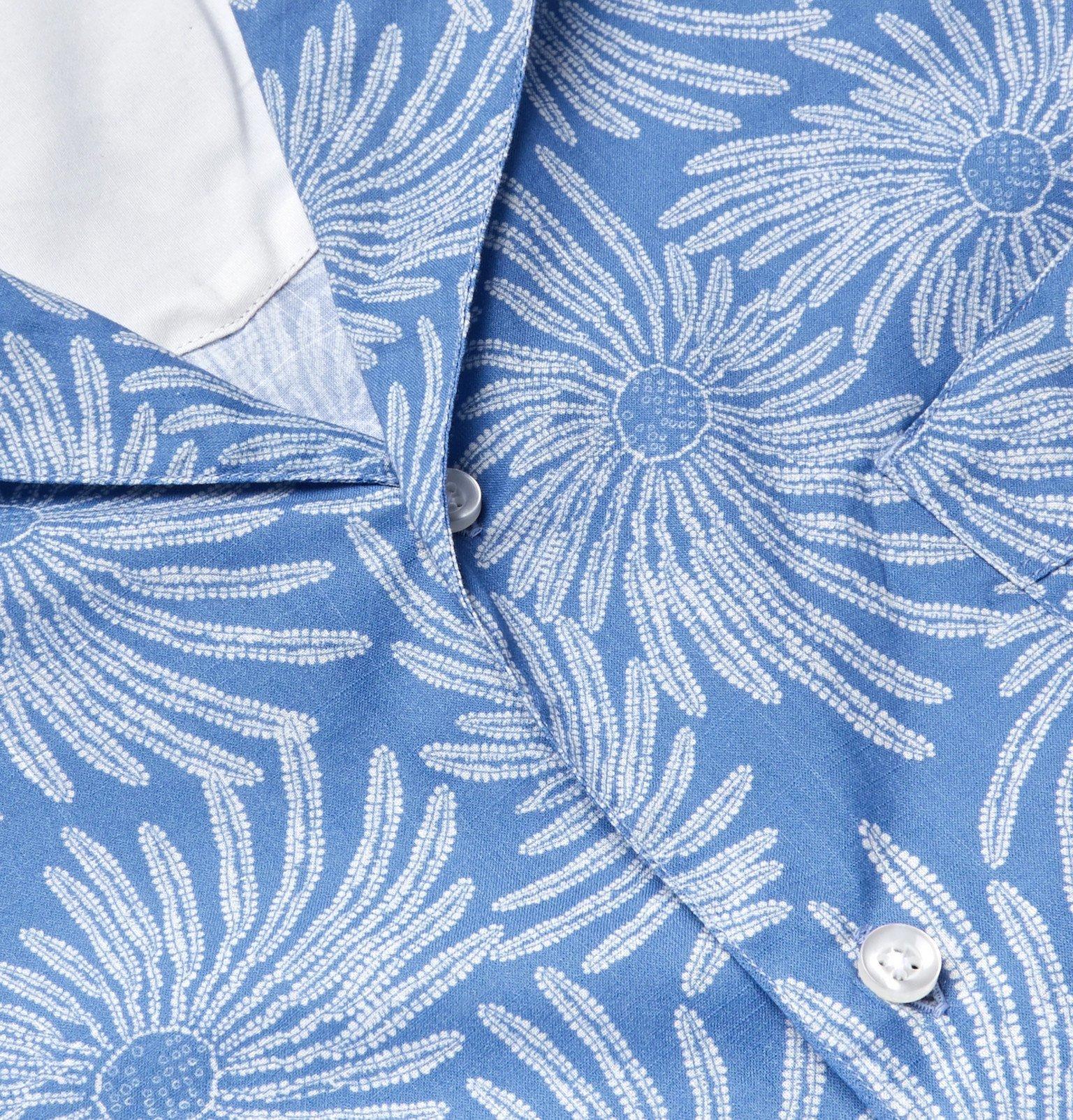 Officine Generale - Dario Camp-Collar Printed Cotton Shirt - Blue