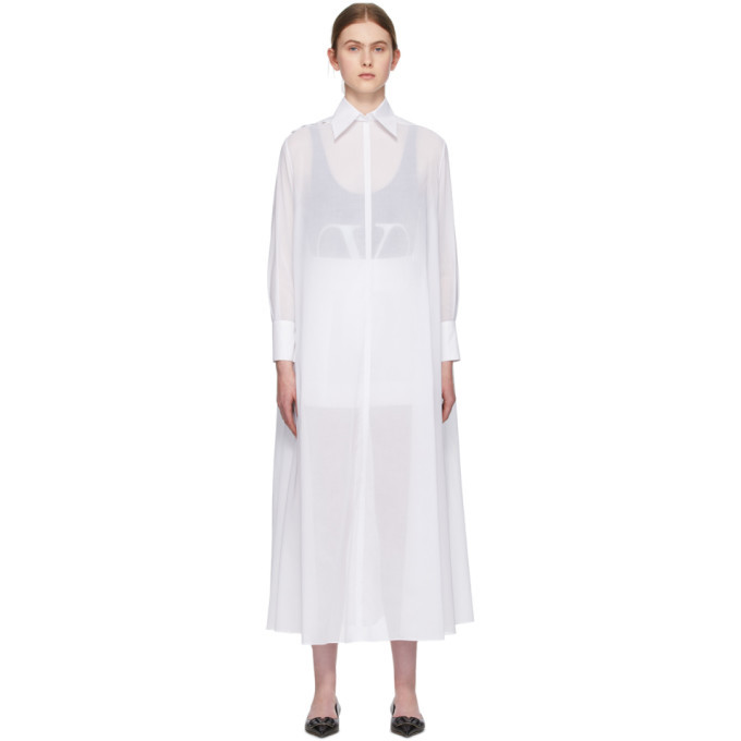 Photo: Valentino White Sheer Shirt Dress