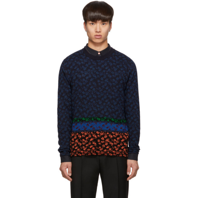 Photo: PS by Paul Smith Multicolor Knit Floral Sweater