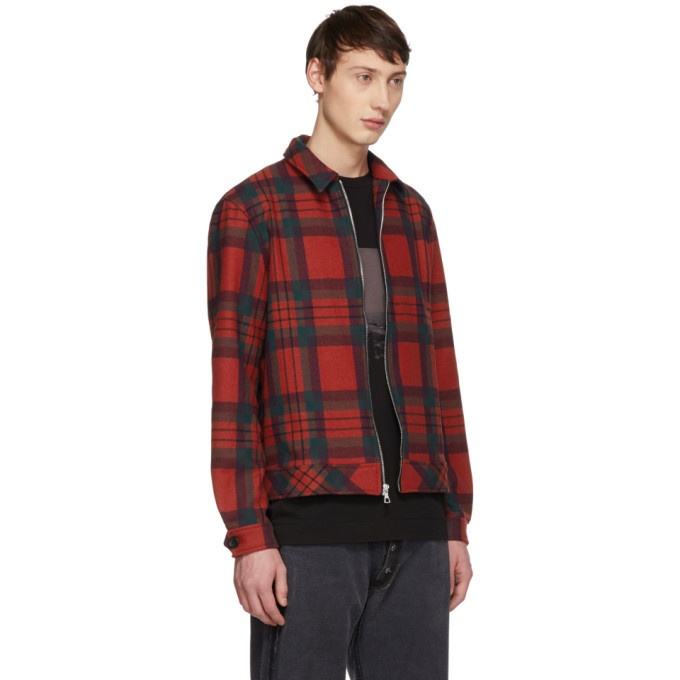 John Elliott Red Plaid Zip Jacket