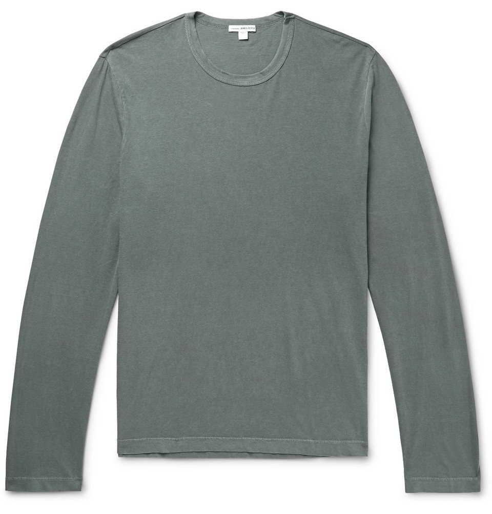 Photo: James Perse - Combed Cotton Jersey T-Shirt - Gray green