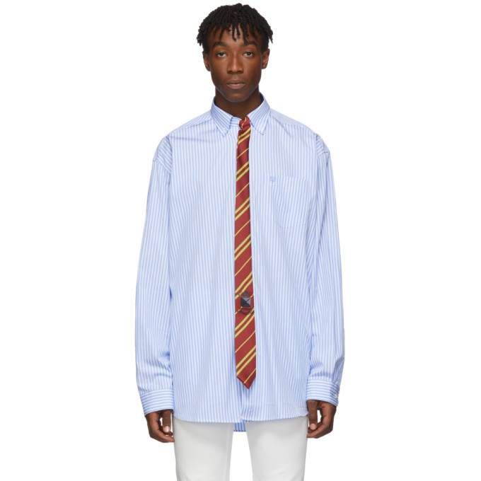 Photo: VETEMENTS Blue and White Stripe Tie Shirt
