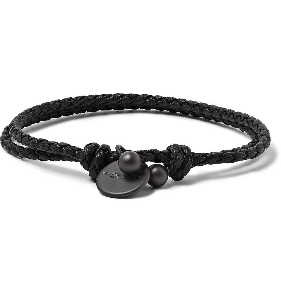 Bottega Veneta - Intrecciato Leather Wrap Bracelet - Black