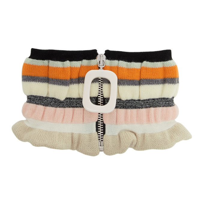 Photo: JW Anderson Off-White Striped Zip-Up Neck Scarf